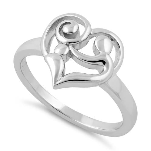 ff9c938dec3a7 Sterling Silver Mom and Child Heart Ring