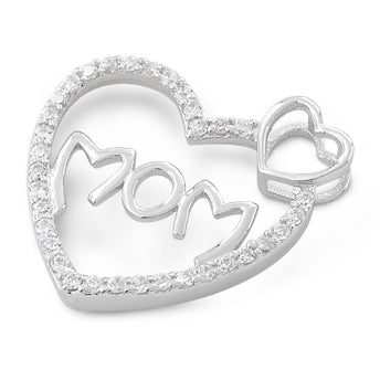 Sterling Silver Mom Heart CZ Pendant