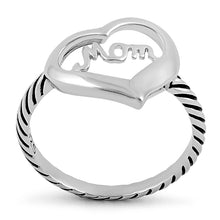 Load image into Gallery viewer, Sterling Silver Mom Heart Ring