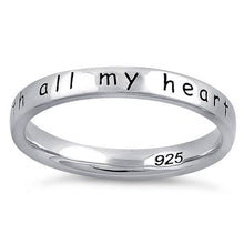 "Load image into Gallery viewer, Sterling Silver ""Mom,  I love you with all my heart"" Ring"