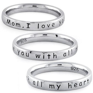 "Sterling Silver ""Mom,  I love you with all my heart"" Ring"