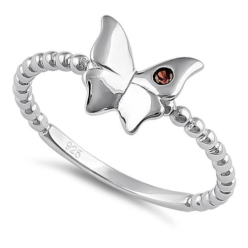Sterling Silver Monarch Butterfly Brown CZ Ring