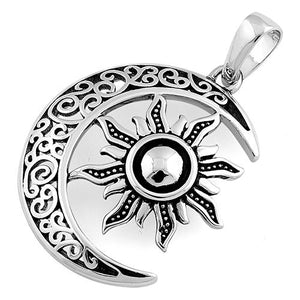 Sterling Silver Moon and Sun Celtic Pendant