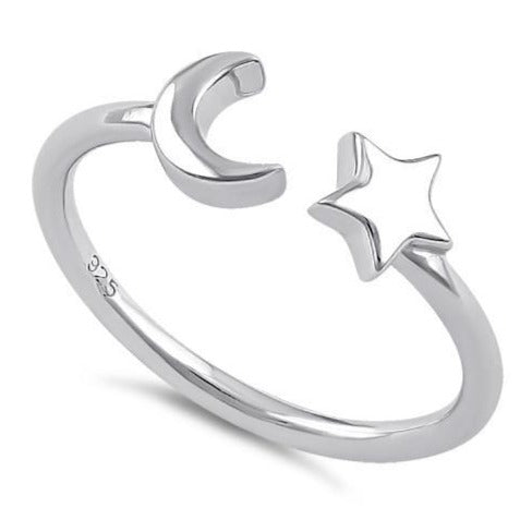 Sterling Silver Moon & Stars Ring