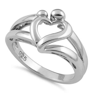 Sterling Silver Mother and Child Heart Ring