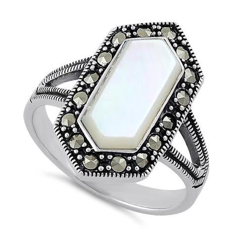 Sterling Silver Mother of Pearl Diamond Shaped Marcasite Ring