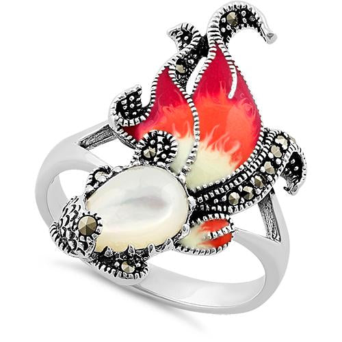 Sterling Silver Mother of Pearl Enamel Ghost Fish Marcasite Ring