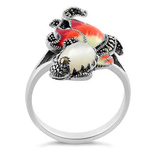 Load image into Gallery viewer, Sterling Silver Mother of Pearl Enamel Ghost Fish Marcasite Ring