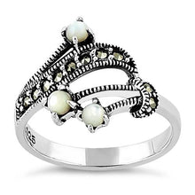 Load image into Gallery viewer, Sterling Silver Mother of Pearl Marcasite Ring