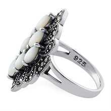 Load image into Gallery viewer, Sterling Silver Mother of Pearl Marquise Marcasite Ring
