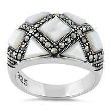 Load image into Gallery viewer, Sterling Silver Mother of Pearl Pattern Marcasite Ring