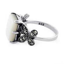 Load image into Gallery viewer, Sterling Silver Mother of Pearl Square Butterfly Marcasite Ring