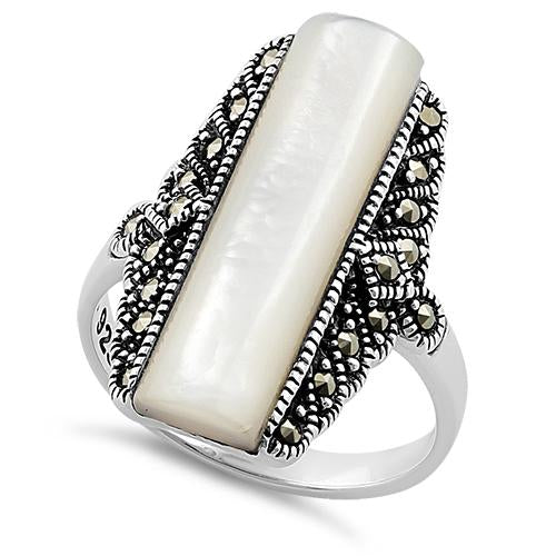 Sterling Silver Mother of Pearl Tall Marcasite Ring