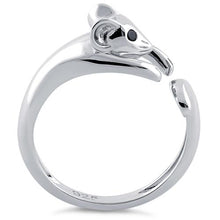 Load image into Gallery viewer, Sterling Silver Mouse Black CZ Ring