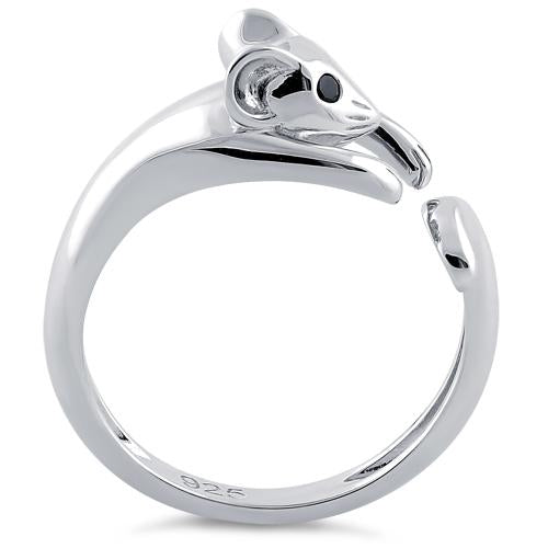 Sterling Silver Mouse Black CZ Ring