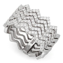 Load image into Gallery viewer, Sterling Silver Movable Zig Zag CZ Ring