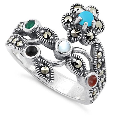 Sterling Silver Rainbow Stones Marcasite Ring
