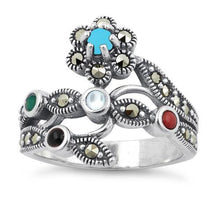 Load image into Gallery viewer, Sterling Silver Rainbow Stones Marcasite Ring