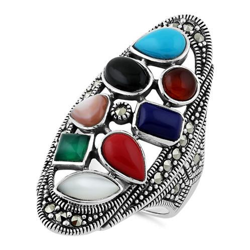 Sterling Silver Rainbow Stone Marcasite Ring