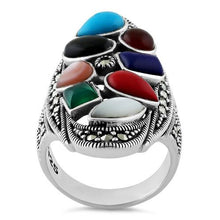 Load image into Gallery viewer, Sterling Silver Rainbow Stone Marcasite Ring