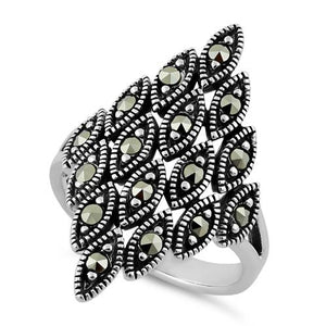 Sterling Silver Multiple Marquise Shape Marcasite Ring