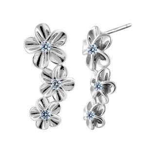 Sterling Silver Multiple Plumeria Stud Earrings