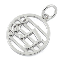 Load image into Gallery viewer, Sterling Silver Musical Notes Pendant