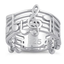 Load image into Gallery viewer, Sterling Silver Musical Notes Ring