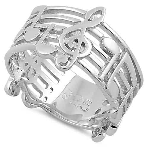 Sterling Silver Musical Notes Ring