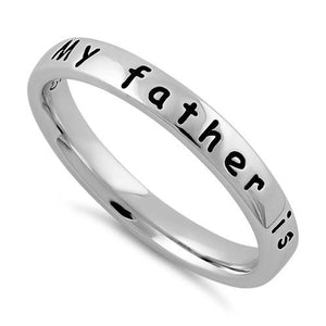 "Sterling Silver ""My father is my hero"" Ring"