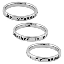 "Load image into Gallery viewer, Sterling Silver ""My grandmother is my angel"" Ring"