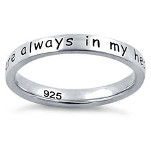 "Load image into Gallery viewer, Sterling Silver ""Near Or Far, You Are Always In My Heart"" Ring"