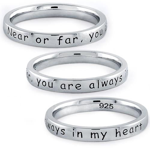 "Sterling Silver ""Near Or Far, You Are Always In My Heart"" Ring"