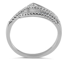 Load image into Gallery viewer, Sterling Silver Ocean Wave Clear CZ Ring