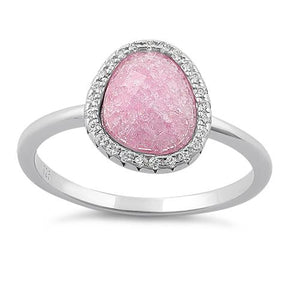 Sterling Silver Offset Oval Pink Ice Galaxy CZ Ring