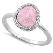 Load image into Gallery viewer, Sterling Silver Offset Oval Pink Ice Galaxy CZ Ring
