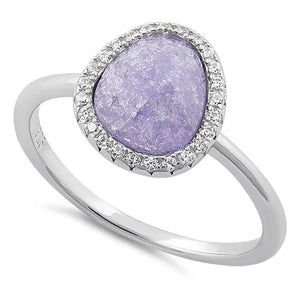 Sterling Silver Offset Oval Purple Ice Galaxy CZ Ring