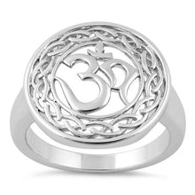 Load image into Gallery viewer, Sterling Silver Om Round Ring