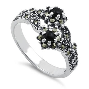 Sterling Silver Black Onyx Double Flower Marcasite Ring