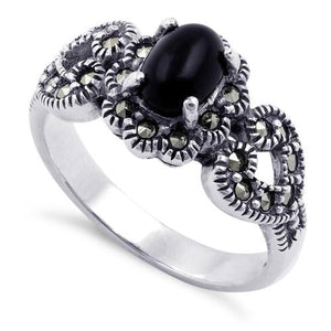 Sterling Silver Oval Black Onyx Flower Hearts Marcasite Ring