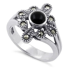 Load image into Gallery viewer, Sterling Silver Black Onyx Flower Marcasite Ring