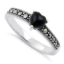 Load image into Gallery viewer, Sterling Silver Black Onyx Heart Marcasite Ring
