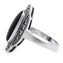 Load image into Gallery viewer, Sterling Silver Black Onyx Oval Marcasite Ring