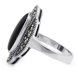 Sterling Silver Black Onyx Oval Marcasite Ring