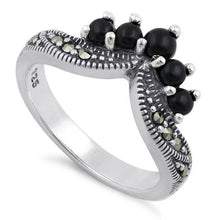 Load image into Gallery viewer, Sterling Silver Black Onyx Pointed V Marcasite Ring