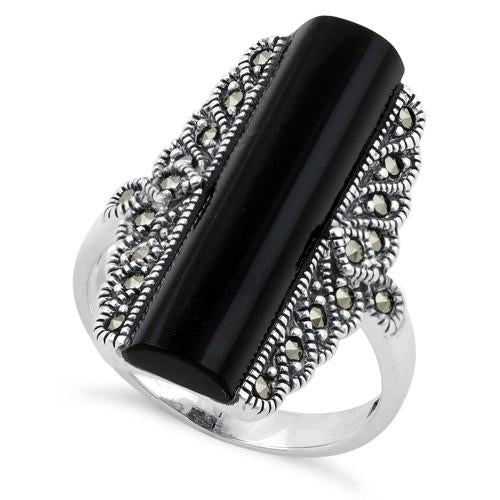 Sterling Silver Black Onyx Tall Marcasite Ring