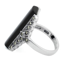 Load image into Gallery viewer, Sterling Silver Black Onyx Tall Marcasite Ring