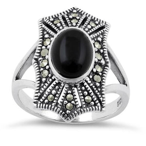 Sterling Silver Black Onyx Web Marcasite Ring