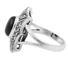 Load image into Gallery viewer, Sterling Silver Black Onyx Web Marcasite Ring