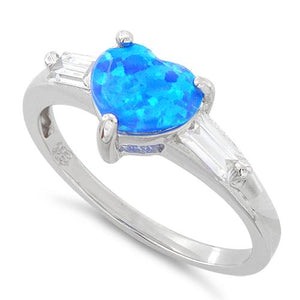 Sterling Silver Lab Opal Heart Baguette CZ Ring